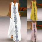 Vintage Women Casual Floral Printed Sleeveless Maxi Dress Evening Party Dress
