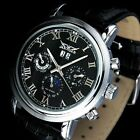 NEW Fashion JARAGAR Moon phase DAY DATE Automatic mechanical Leather Mens Watch