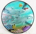 Dolphins Swimming in Dolphin Paradise Fused Glass Hand Crafted Decorative Table