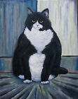 oil painting fat cat FLUBMAN 16x20 canvas modern original art signed CROWELL 1