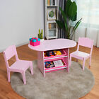 Kids Table and 2 Chairs Set with Storage Boxes For Toddler Gift Desk Pink