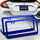 2 x Blue Aluminum Alloy Car License Plate Frame Cover Front  Rear US Size
