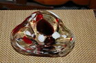 Modern Abstract Art Glass Bowl Dish Colorful Designs Thick Heavy Glass