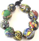 9 Old Antique Venetian Millefiori Recycled Ghana African Glass Trade beads Ghana