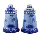 Porcelain Blue and White Lighthouse Salt and Pepper Shakers Set Set