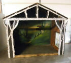 Large Antique Vtg Church Christmas Nativity Creche Manger Stable Wood 54H