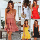 Women Lace Backless V-neck Spaghetti Strap Mini Dress Beach Sleeveless Sundress