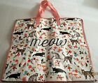 Reusable Extra Large Tote Bag 21 x 18 x 10 MEOW With Zipper Closure