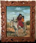 VINTAGE OIL PAINTING NATIVE AMERICAN APACHE CHILDREN INA SHELDRICK 1959