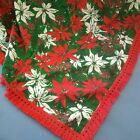 57 x 70 Vintage Red Green Poinsettia pinecone Fabric Christmas Tablecloth fringe