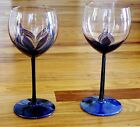 Two Vintage Randy Strong Art Glass Wine Glasses Goblets Pulled Feather Design