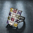 925 Silver Multi Color Topaz Gemstone Ring Wedding Jewelry Gift Woman Size 6 10