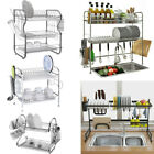 Large Dish Drying Rack Cup Drainer 2 3 Tier Strainer Holder Tray Stainless Steel