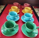 Vintage Homer Laughlin HARLEQUIN Fiesta Multi-color 16 PC CUP and SAUCER LOT