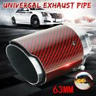 63mm Real Carbon Fiber Red Car Exhaust Muffler Tip End Tail Pipe Universal