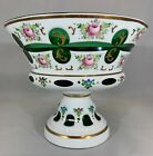 Bohemian Czech Cased White Overlay Cut to Green Compote Hand Painted