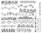 Unmounted Rubber Stamps Sheet Sheets Borders Border Floral Cooking Angels