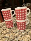 Vintage WESTFIELD RED PLAID Checkered Gingham Mug Coffee Cup 4pcs.
