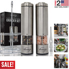 Electric Salt and Pepper Ceramic Grinder Set Stainless Steel Mill + Stand +Brush