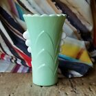 VTG Scarce FIRE KING Art Deco JADEITE Green VASE White Milk Glass Chevrons 1940s