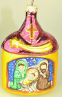 3D GLASS 55 CRECHE MANGER SCENE WITH ANGEL CHRISTMAS ORNAMENT FROM POLAND