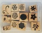 Stampin Up Flower Factory 13 Wood Mounted Rubber Stamps Retired Scrapbook 2004