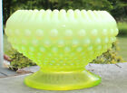 Vintage Early FENTON Vaseline Opalscent Hobnail Topax Candle Holder GLOWS