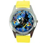 YELLOW LEATHER  SUPERHERO Stainless FILM DVD ROUND WATCH for BATMAN kids fans