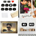 2Pcs Mr Mrs Photo Props Paper Frame Just Married Banner Wedding Xmas Rose Gold