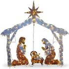 Nativity Scene Christmas 3 Figures 250 LED Lights Indoor Outdoor 72 Pre Lit