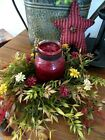 ARTIFICIAL CANDLE RING DAISY SILK FLOWERS FALL CANDLE RING FLORAL GRAPEVINE BASE