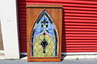 HUGE Antique Stained Glass Window With Wood Frame 2 Architectural Church