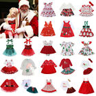 US Christmas Toddler Kid Baby Girl Xmas Festival Flared Party Plaid Stripe Dress