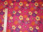 Bright Fun Funky Flowers Red Background Cotton Quilt Vintage OOP Fabric BTY