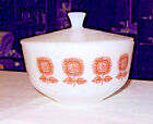 Federal white milk glass bowl with lid 1960's gold pattern 2 1/2 quart vintage