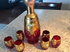 ANTIQUE MOSER BOHEMIAN CZECH ART GLASS CRANBERRY DECANTER 6 CORDIALS SHOT