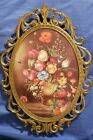 Vintage Brass Ornate Metal Oval Picture Frame Convex Bubble Dome Glass 12 x 9