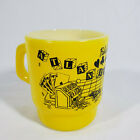 Vintage Anchor Hocking Atlantic City Gambling Milk Glass Mug Glasbake Yellow