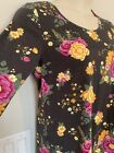 Lularoe NWT Lynnae L Large Charcoal Yellow Green Pink Floral Long Sleeve New