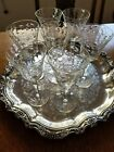 Antique Cut Etched Crystal 7 Stemmed Wine Glasses 625 tall c1920s