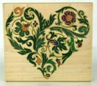 Scroll Ornate Heart Rubber Wood Block Stamp Rubber Stampede Large