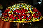 Tiffany Reproduction Lamp Shade Stained Glass Double Poinsettia Art Glass 23W