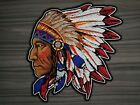 Large Patch Indian Chief Motorcycle Biker Embroidered Iron Sew on Jeans Jacket