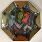 1991 Durwin Rice Chagall Vava Decoupage Glass Plate 105 Octagonal Signed Dated