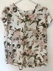 Womens Loft White Pink Green Floral Print Blouse Semi Sheer Size Large