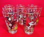 8 Vintage LIBBEY Circus Elephant Ringmaster Girl Glasses Caddy Gold Trim EXC