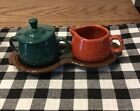 Fiesta Ware Fall Colors Sugar and Creamer Set Paprika Evergreen and Chocolate