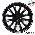 15Inch Hubcaps Wheel Rim Cover For Audi Glossy Black with Black Insert 4pcs Set