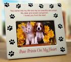 Dog Memorial Picture Frame Pet Paw Prints on My Heart 725W x 8H Brown