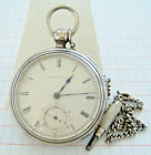 1876 Wm Ellery 18s KW 11J Waltham Pocket Watch Runs w Key Chain Coin Silver Case
